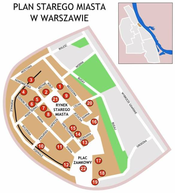 The plan of the Old Town in Warsaw