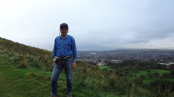 I asked a young woman to take my photo in the hillside.