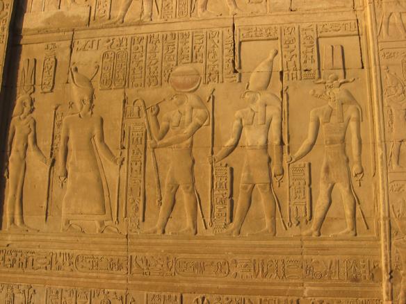 Relief of gods Khonsu, Horus and Sobek