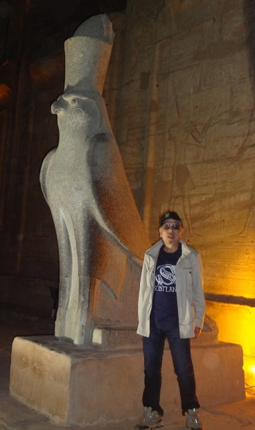 Statue of Horus (falcon god) at the entrance to the large courtyard