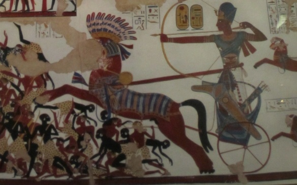 "Wall painting in the Temple ""Brave Ramses II fights against Nubian"""