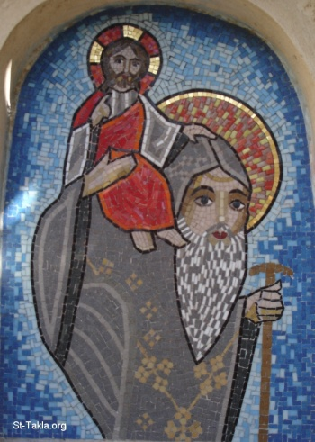 St. Pishoy carry a monk up to a mountain.