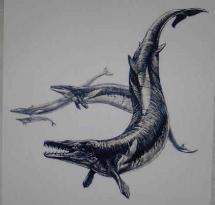 Figure of imagination of Basilosaurs