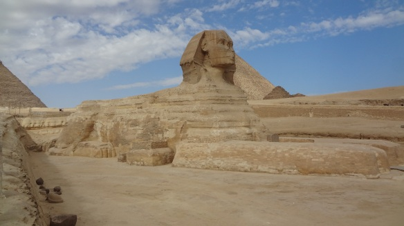 The Great Sphinx of Giza, with the Pyramid of Khufu in the background