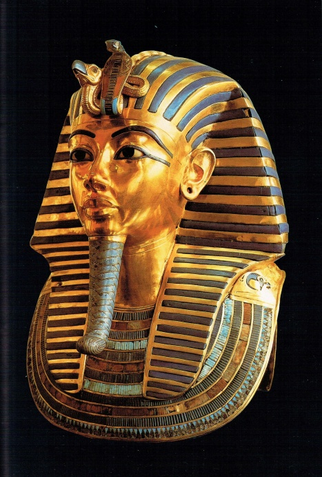 The famous funeral mask of Tutankhamon, in gold and semi-precious stones, reproduces almost exactly the delicate features of the pharaoh. This was placed over the king's head and shoulders.
