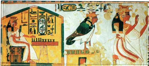 Nefertari, playing a game and praying to gods
