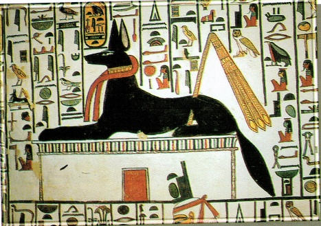 """Anubis"" jackal-headed god associated with mummification and the afterlife in ancient Egyptian religion."
