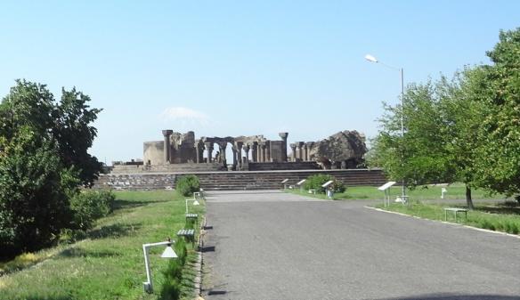 Remains of Zvartnots Cathedral in Ejmiatsin City, Armenia