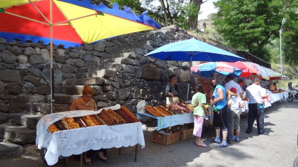 Souvenir shops on the open space in front of Geghard Monastery