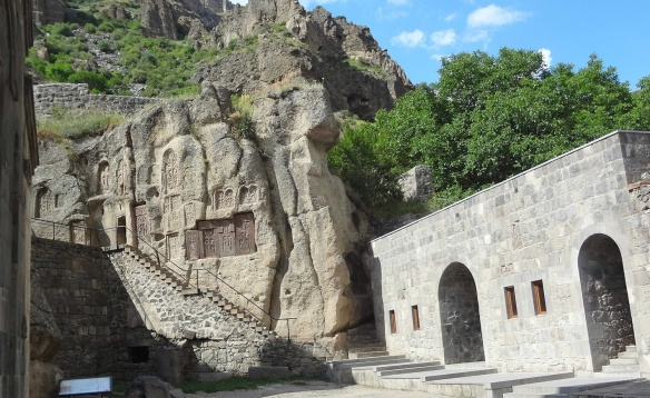 The Armenian crosses carved to the huge rocks.
