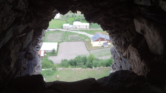 The hole of the wall in the tower.