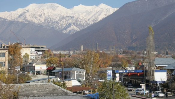 Shaki Town and Caucasus Mountain