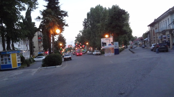 Street of Sheki at dusk