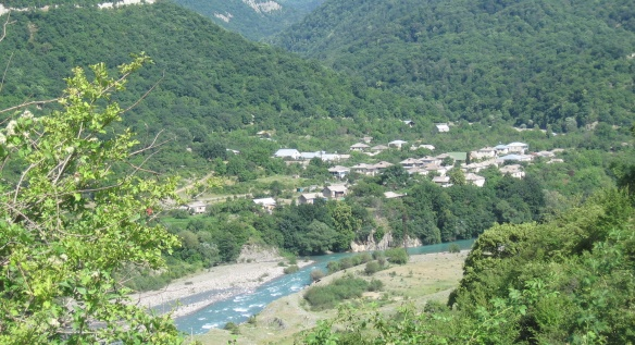 Ananuri village is in the ravine of Caucasus Mountains.