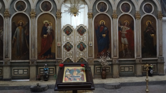 The main altar in a church