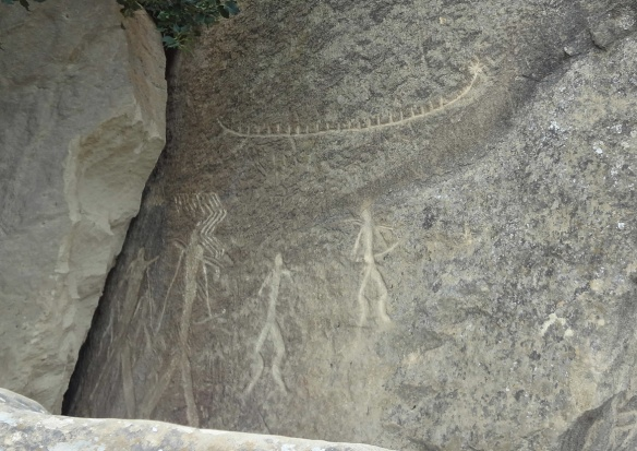 Ancient Petroglyphs at Gobustan National Park, Azerbaijan.