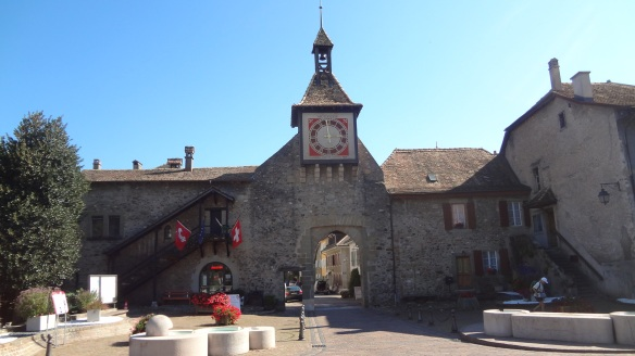Town gate, famous clock tower of Saint-Prex