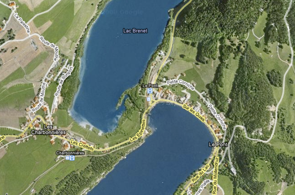 Map of Lake Brenet, Village Les Charbonnières and Le Pont and Lake Joux