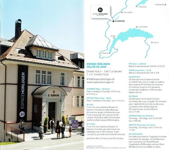 Brochure of Espace Horologer Vallée de Joux