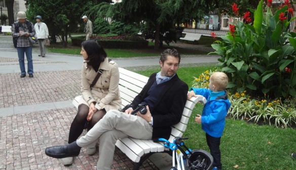 The local family enjoys in the park.