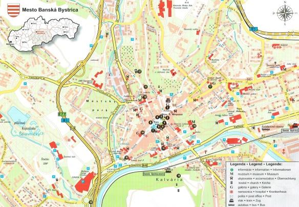 City map of Banská Bystrica, Slovakia