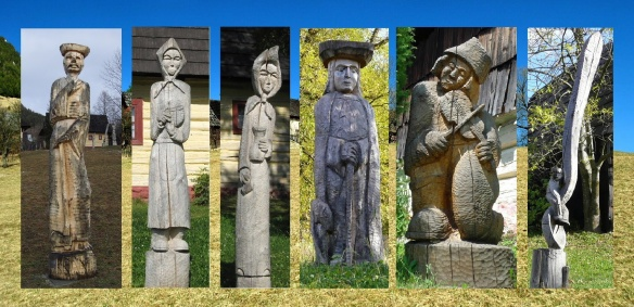 Wooden statues, made by Vlkolínec villagers