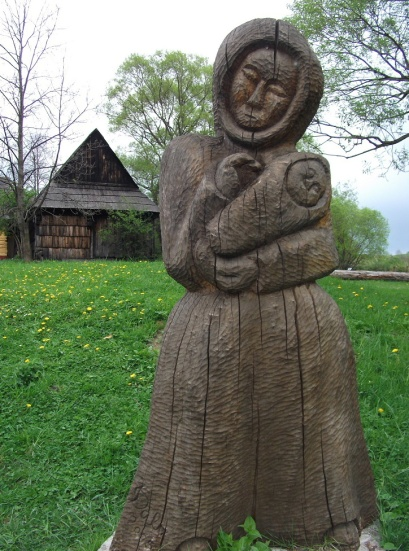 Wooden statue, made by Vlkolínec villager