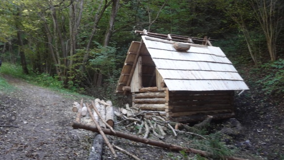 The mountain path and forestry work shed