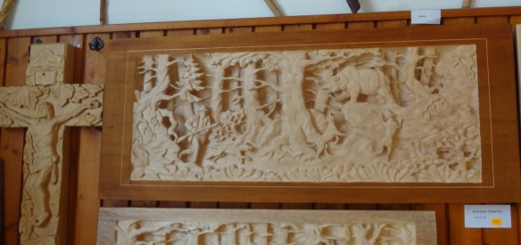 Fine displays of wood carving of the museum