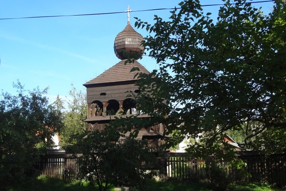 The belfry of wooden church in Hronsek