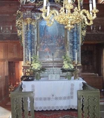 The main altar in a church