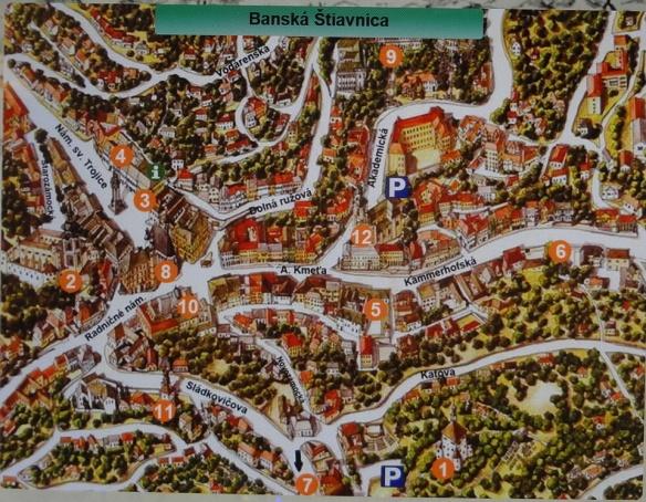 Banská Štiavnica town map