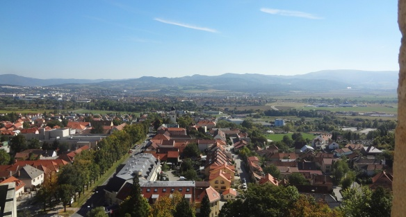 Town of Bojnice, the view from the tower of Bojnice castle.
