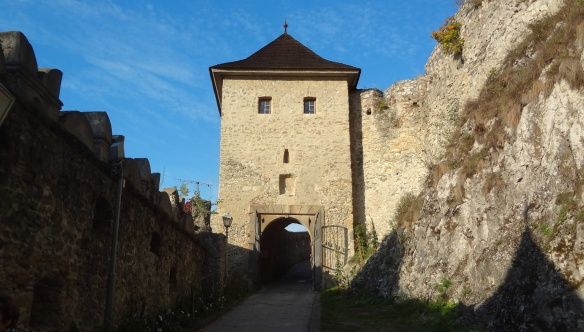 The castle entrance gate with its fortified walls, Trencin.