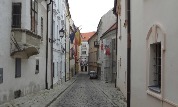 Narrow alley in the city of Bratislava