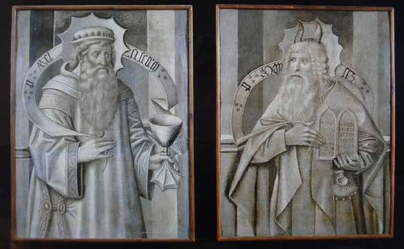 Compartments from the back of predella (dais) with Melchizedek and Moses