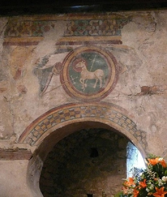 Murals on the altar of the Santa Coloma Church