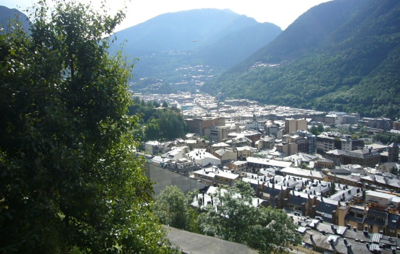 The view of the town, Andorra La Vella from the halfway up a mountain of Pyrenees.