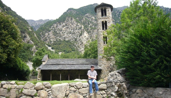 The Santa Coloma Church and I'm sitting on the fence.