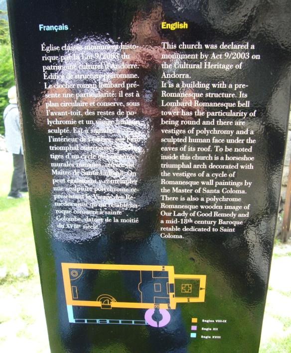 Description plate in the yard of Santa Coloma Church