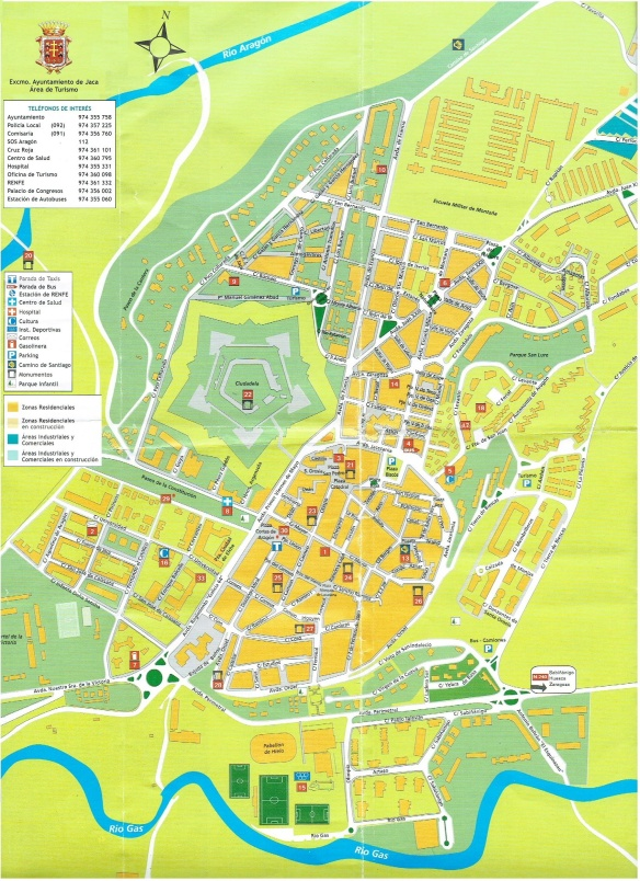 Sightseeing map of Jaca