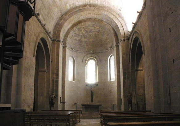 The inside of the church is simple and less decorative.