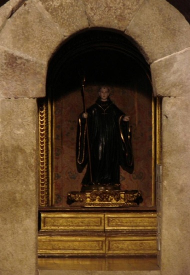 The statue of old abbot, St. Virila, Leire monastery