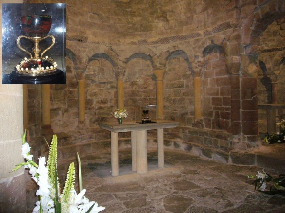 Alter of Romanesque Church and Replica of the Holy Grail