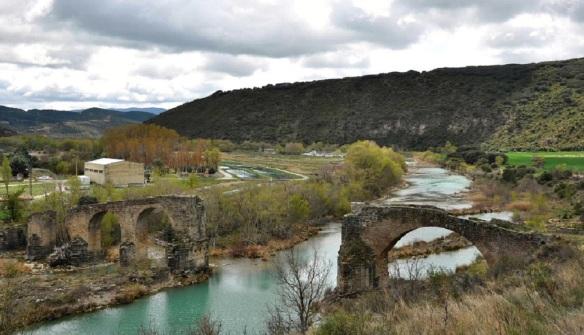 Ruined old bridge of Yesa, Spain