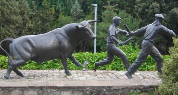 Running Bull Statue at the hotel.