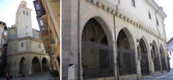 Iglesia de San Saturnino (Church of San Saturnino); the tower and the entrance.