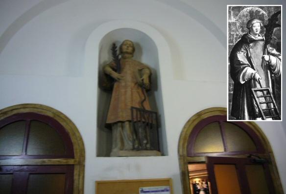Statue of San Lorenzo in the church.