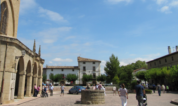 Central Square of Obanos Village, Navarra.