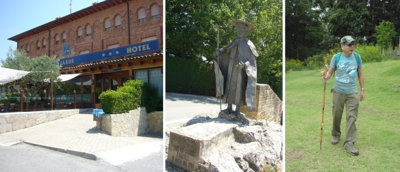 Hotel Jakue, the statue of pilgrim and a pilgrim from Tokyo